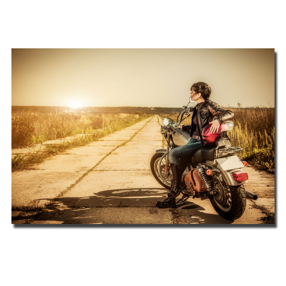 Women Machines Arts Girls Motorcycle Poster Canvas Print Wall Art ...