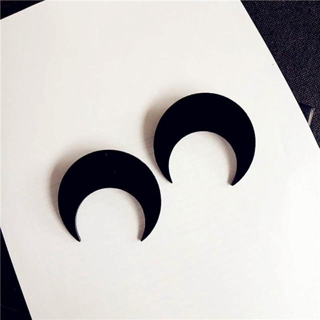 Punk Night Club femmes bijoux accessoires personnalité noir or acrylique lune boucles d'oreilles