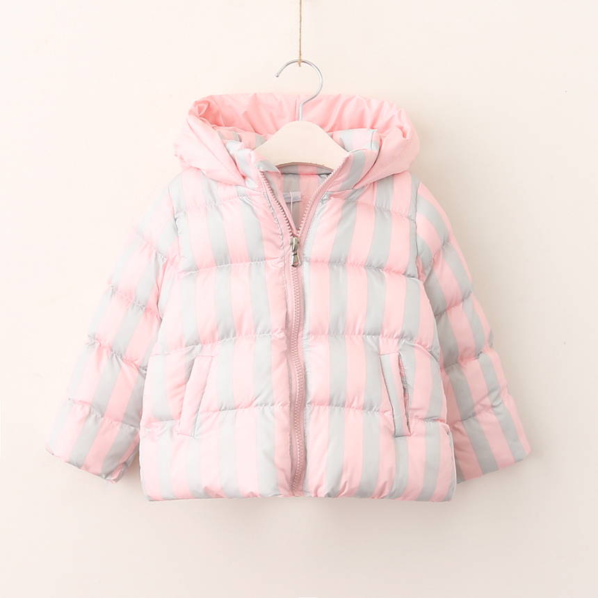 Thickened Kids Baby Warm Hooded Clothes Girls Parkas Down Striped Outerwear Lolita Autumn Winter Children Clothing 5pcs/LOT