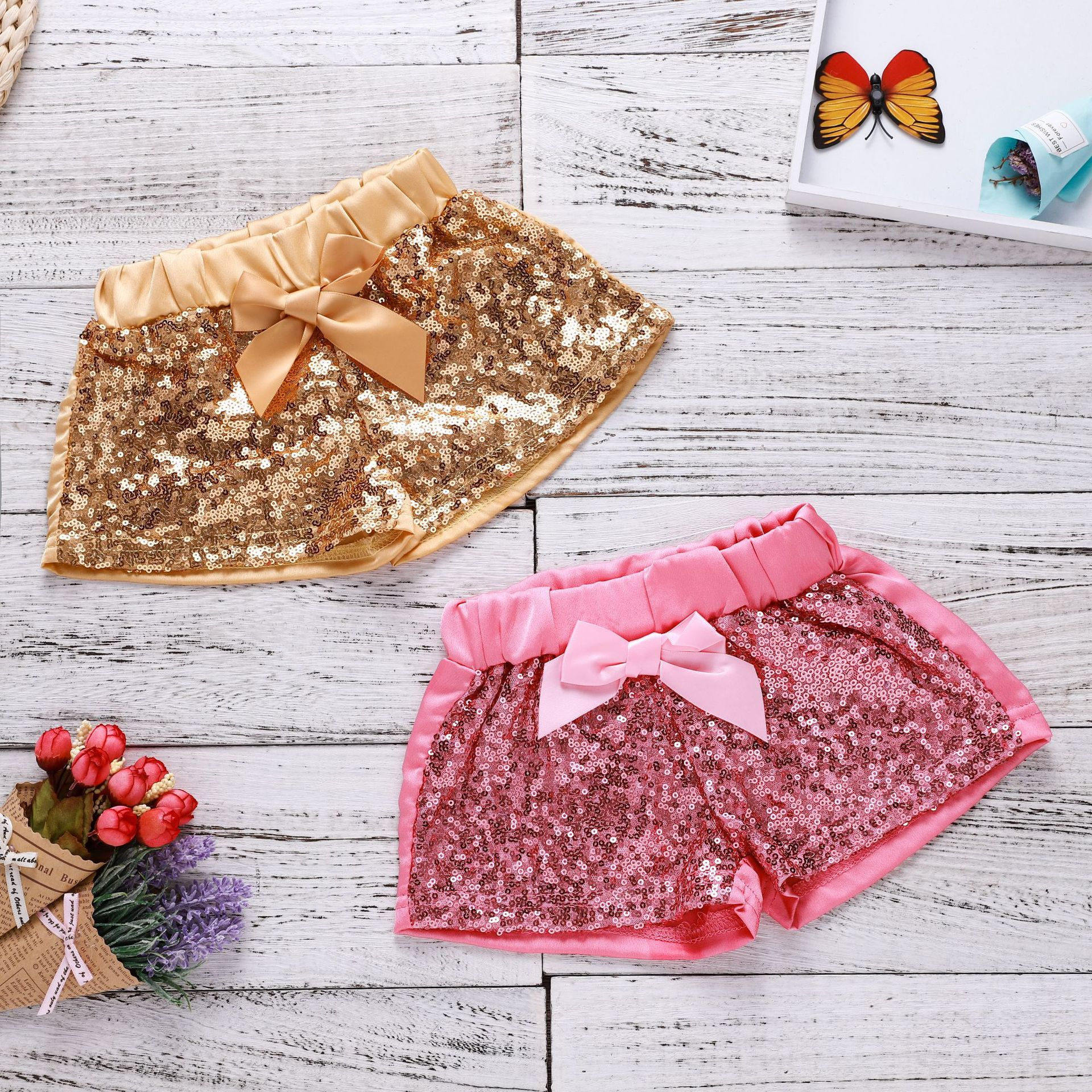 2019 Di Modo Oro Rosa Bling Bambino Delle Ragazze Shorts Cute Baby Per Bambini Abbigliamento Per Bambini Shorts 90-100-110- 120 Facile Da Riparare