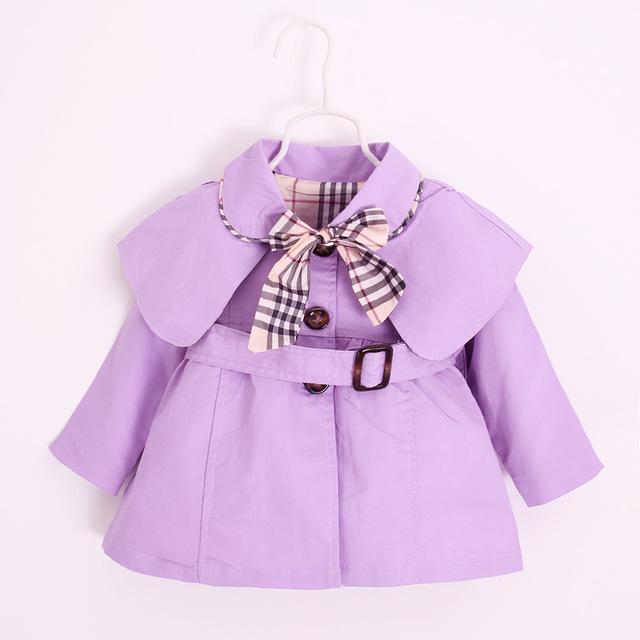 2016 Primavera Outono 1-4Y Crianças Roupa Do Bebê Da Princesa Menina Trincheira Cinto Casaco crianças Jaquetas Casaco Fashion Vestido de Arco Xadrez Outwear