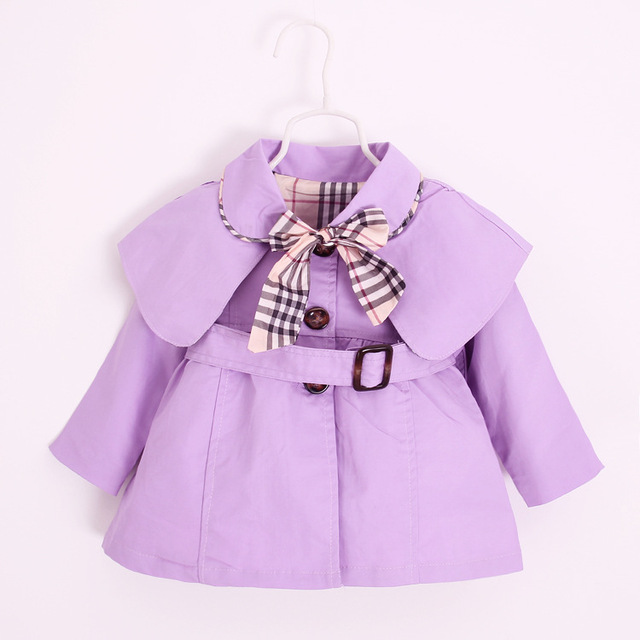 2016 Spring Autumn 1-4Y Children Clothes Princess Baby Girl Belt Trench Coat kids Jackets Dress Fashion Coat Plaid Bow Outwear