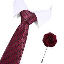 Fashion Designer Ties For Men Business 7.5cm Groom 2019 New Wedding Men Tie Red Dot Tie Free Gift Brooch Drop shipping fashionable dot shape decorated wedding red tie for men