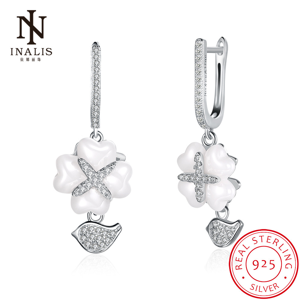 INALIS Luck Clovers Shine Ceramic White/Black 925 Sterling Silver Cubic Zirconia Dangle Earrings Female Jewelry Accessories Gift