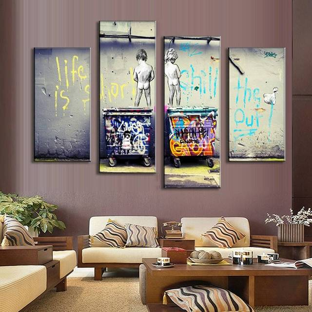 Lienzo de pared marco posters 4 bancos sala de estar adorno arte ...