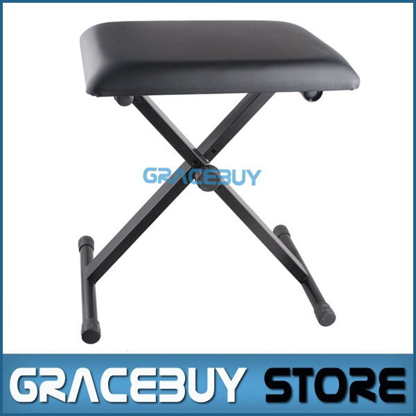 Good Black Pro X Frame Keyboard Bench Foldable Piano Stool Seat Adjustable  Height Stand Electric Piano Chair
