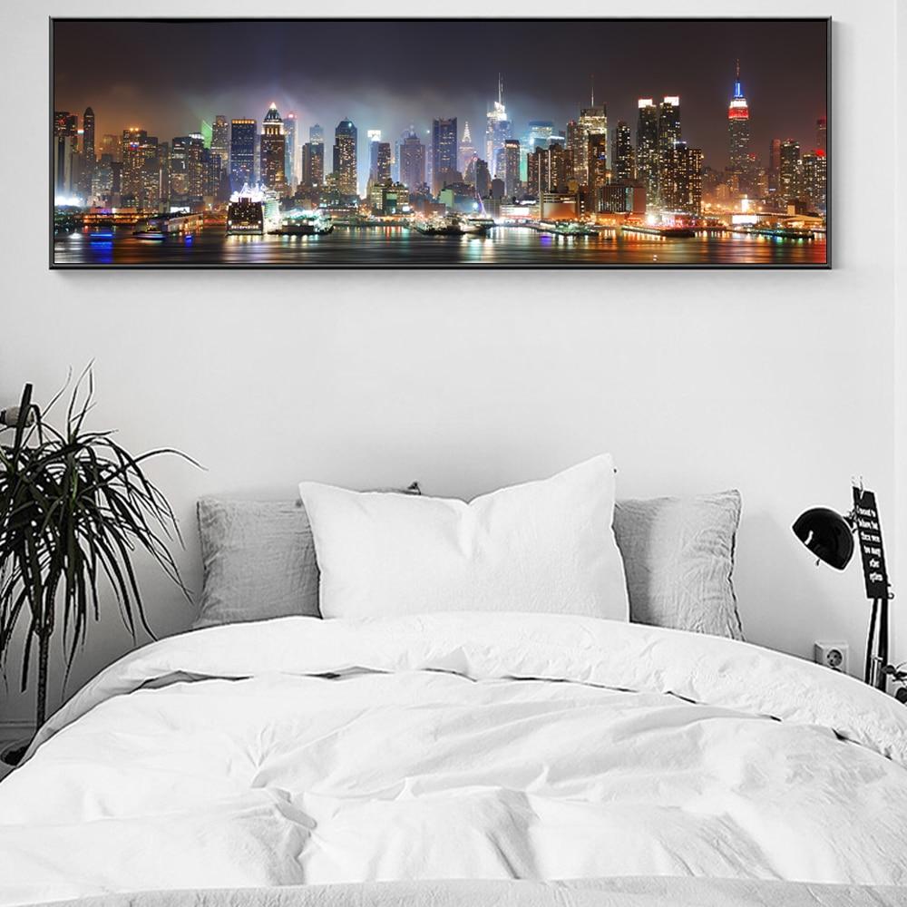 New york city skyline bleu multi toile art box encadrée photo