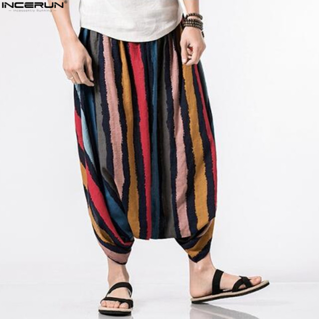 Summer Cotton Men's Pants Ankle-Length Strip Print Design Elastic Waist Big Crotch Baggy Trousers Casual Harem Hip Hop Bottom