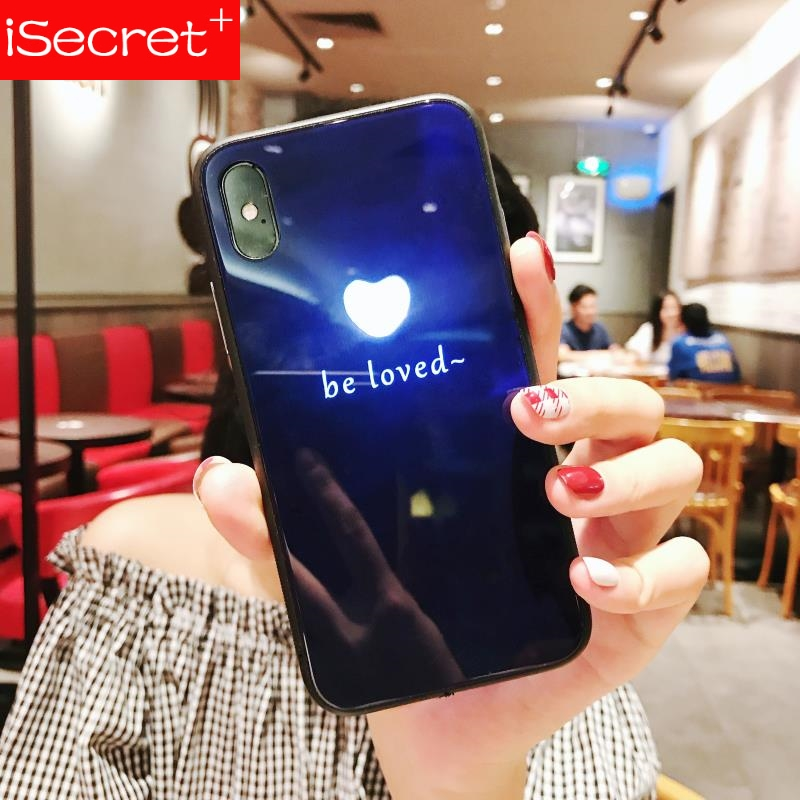 Tempered Glass Phone Case for iPhone 6 6s 7 8 Plus X have Led LOGO flash Luxury Glass Case For iPhone X Protective Phone Cover image