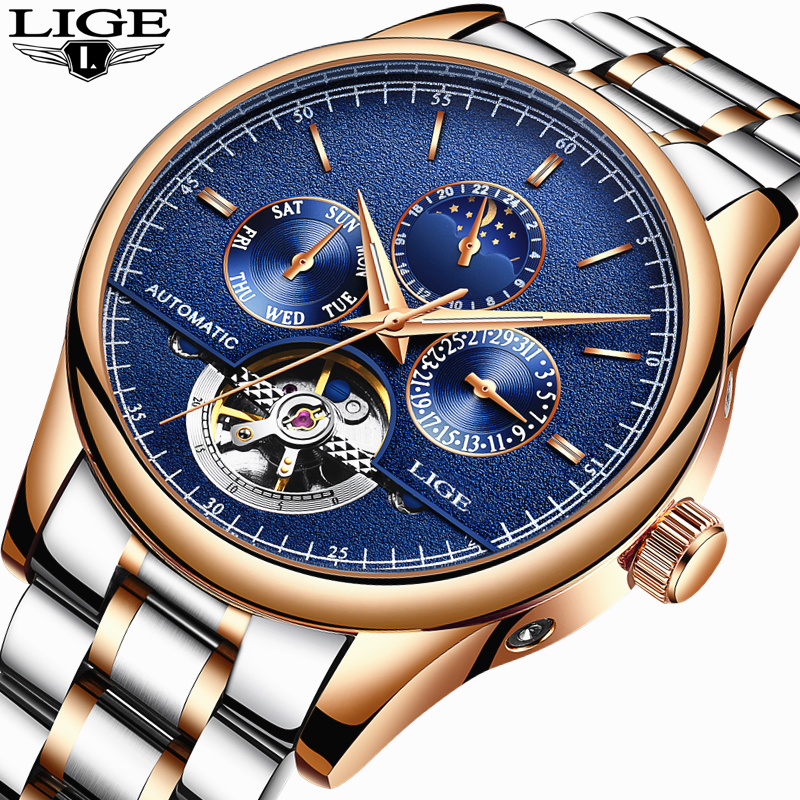 Relogio Masculino LIGE Mens Watches Top Brand Luxury Automatic Mechanical Watch Men Full Steel Business Waterproof Sport Watches read luxury golden automatic mechanical watches men fashion watch for men wristwatch waterproof full steel relogio masculino new