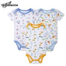 3pcs/Baby Set 0-12M Casual Cotton Baby Short Sleeve 2016 Baby Boys Bodysuits Baby 3pcs Cartoon Printed Clothing Set