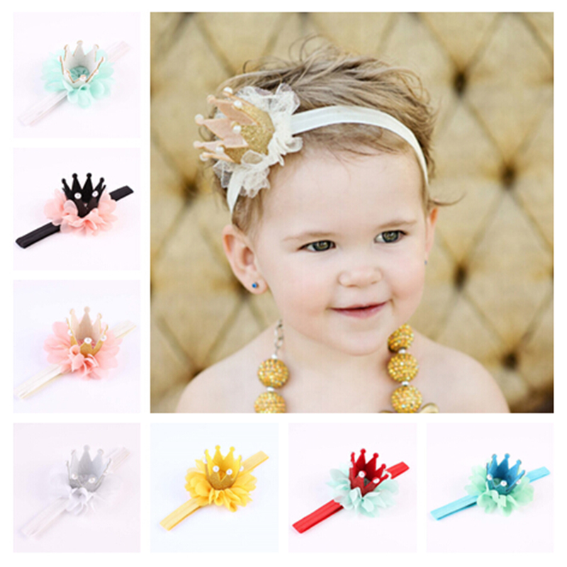New Kids Girls Princess Queen Birthday Tiara Hairband Newborn Headband Crown Headwear Hair Band Accessories black and coffee 2 colors hair tiara ancient chinese emperor or prince costume hair crown piece cosplay use for kids little boy