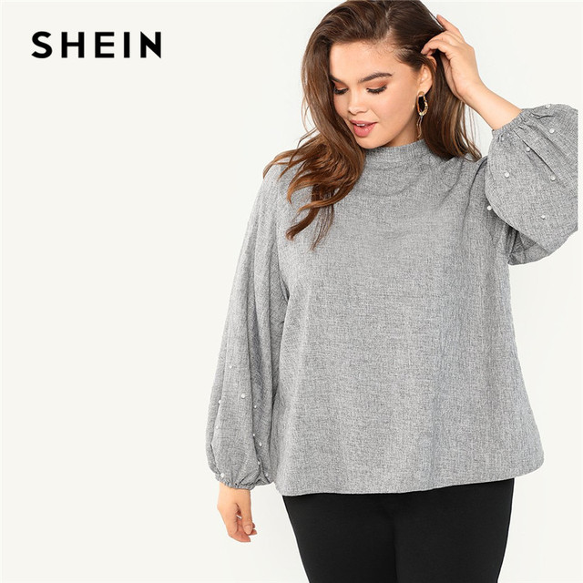 43a7a7f6ce SHEIN Plus Size Pearl Beaded Long Lantern Sleeve Casual Women Grey Blouse  2018 Solid Stand Collar Autumn Work Top Blouse