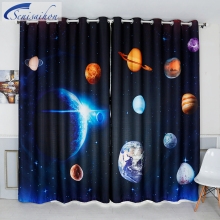 Senisaihon 3D Blackout font b Curtains b font Cartoon Space Milky Way Planet Pattern Thickened Fabric