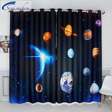 Senisaihon 3D Blackout Curtains Cartoon Space Milky Way Planet Pattern Thickened Fabric Children Bedroom Curtain for Living Room