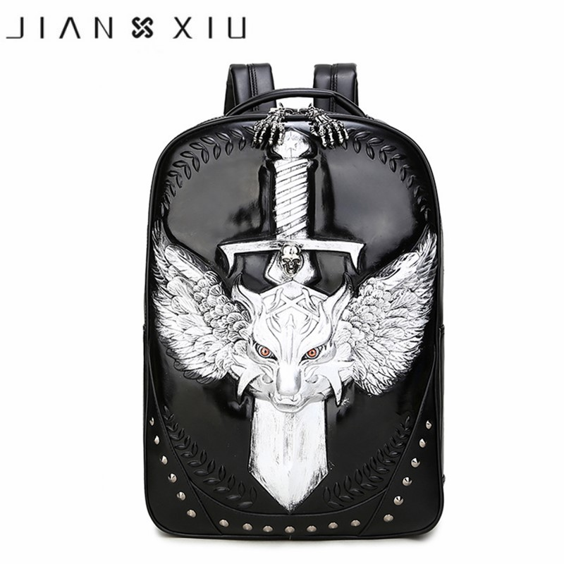 2018 New Men Women's Backpakcs School Bag Hip-Hop Rivet Personality Animal Wolf Prints bags High Quality Luxury Famous Brand nocturnal wolf prints diamond paintings