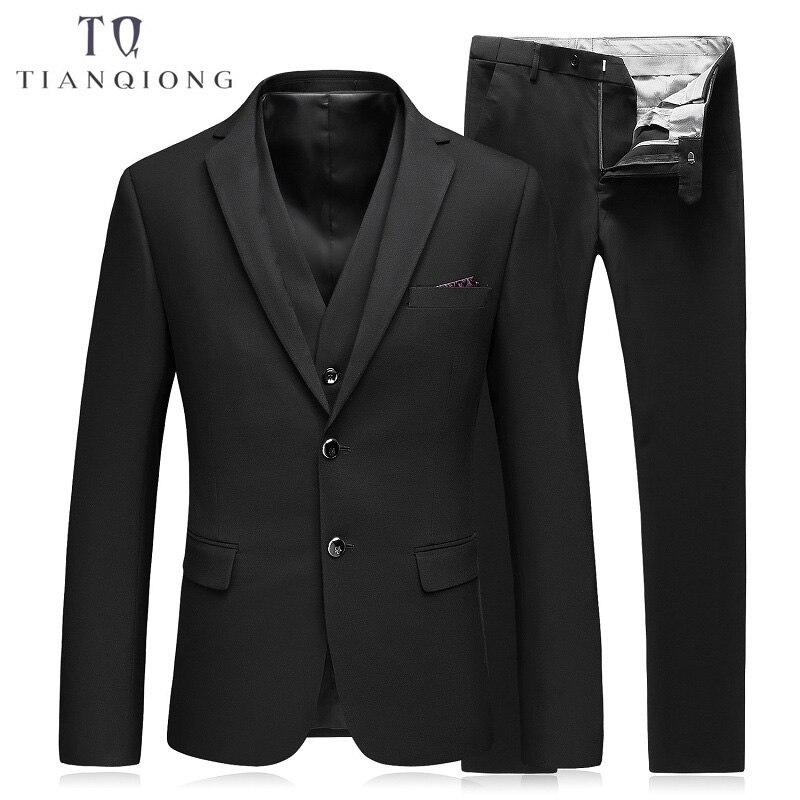 TIAN QIONG Brand Men Black Dress Suits Blazer Set 2 Buttons Classic High Quality Handmade Suits Set 3 Pec (Jackets+Pants+Vest)