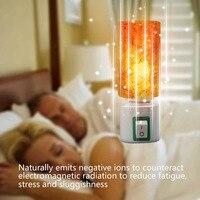 OYGROUP Mini Hand Carved Natural Crystal Himalayan Salt Lamp Night Light Cylinder Shaped Illumilite Lamp Salt