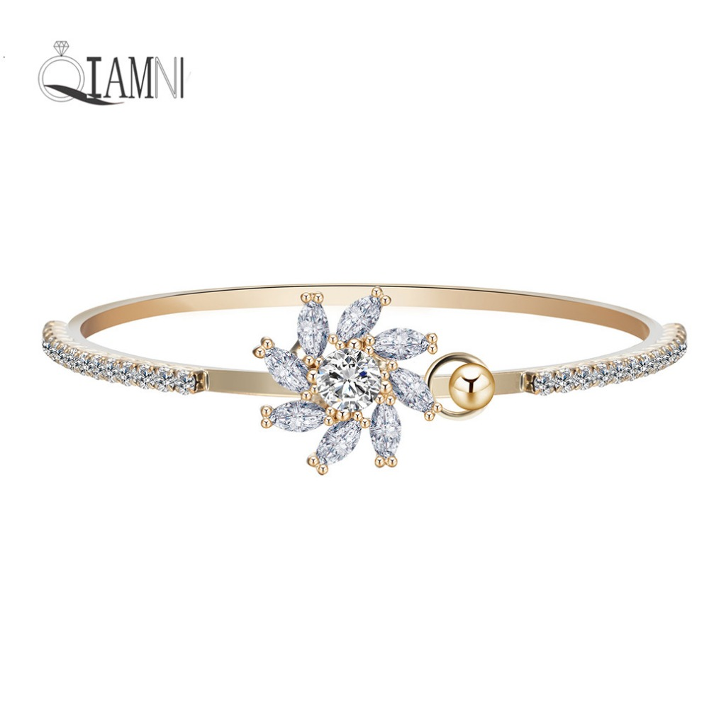 QIAMNI 10pcs Summer Beautiful Love Flower Cubic Zircon Arm Charm Bangles Bracelet Fashion Wedding Jewelry Gift for Girl Women