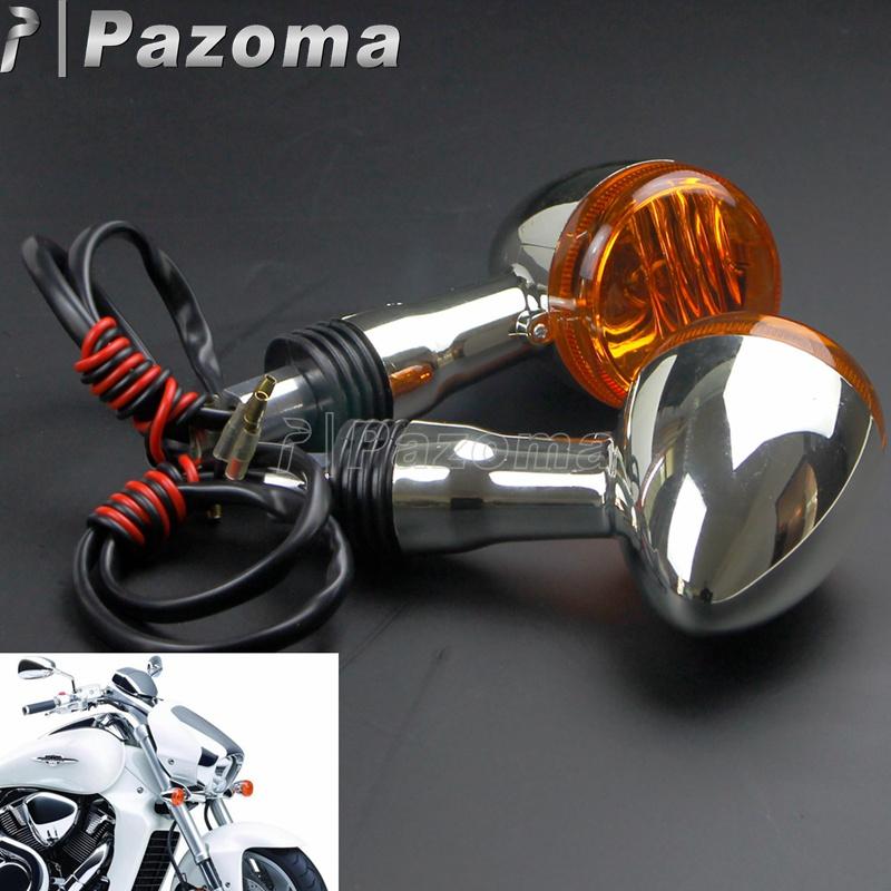 Chrome Motorcycles Amber Lens Front Rear Turn Signal Indicator Flash Blinker for Suzuki Boulevard M109R VRZ1800 2006-2015