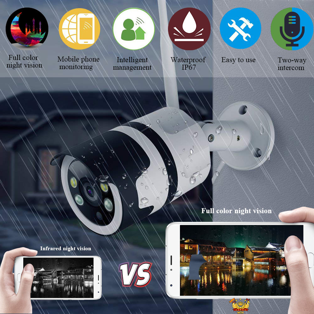 1080P CCTV Camera Wifi Security Surveillance IP Camera Two Way Audio Color Night Vision Outdoor Bullet Camera ONVIF-YOOSEE1080P CCTV Camera Wifi Security Surveillance IP Camera Two Way Audio Color Night Vision Outdoor Bullet Camera ONVIF-YOOSEE