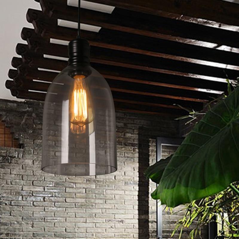 Luzes pingente de ferro do vintage vidro branco pendurado sino pingente lâmpada e27 110 v 220 v para sala jantar decoração casa planetário hm41 - 2