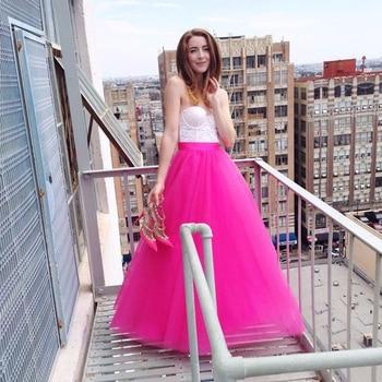 2017 New Fuchsia Long Skirts Womens High Waist Floor Length Tulle Skirt Summer Street Style Lolita Maxi Skirt Saia Longa Jupe