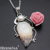 Hermosa jewelry Exclusive design Leaf shape Abalone Shell natural pearl 925 Sterling Silver Retro unique Pendant HF1050