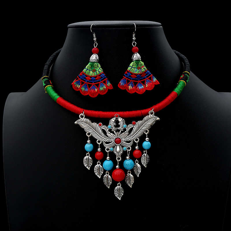 2019 New Tribal Jewelry Set For Women Charm Multi Colour Drop Earrings Leaves Pendant Necklace Fashion Accessories Gift Boho