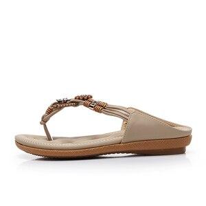 Image 3 - BEYARNE Schnelle lieferung Frauen sandalen 2018 weiche PU leder Strass sandalen frauen Sommer mode flip flops sandalen frauen schuhe