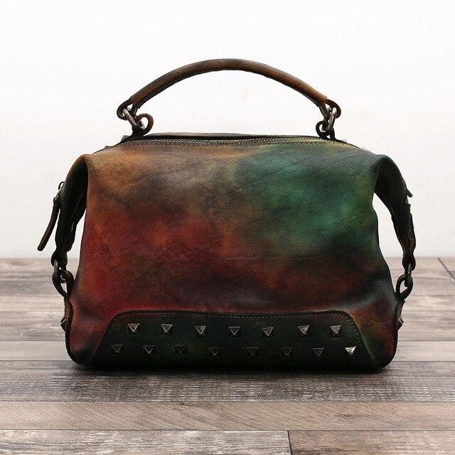 d40a03122944 Woman Handbags Genuine Leather Nature Cowskin Female Vintage Design Rivets  Shoulder Crossbody Messenger Ladies Casual Totes Bag