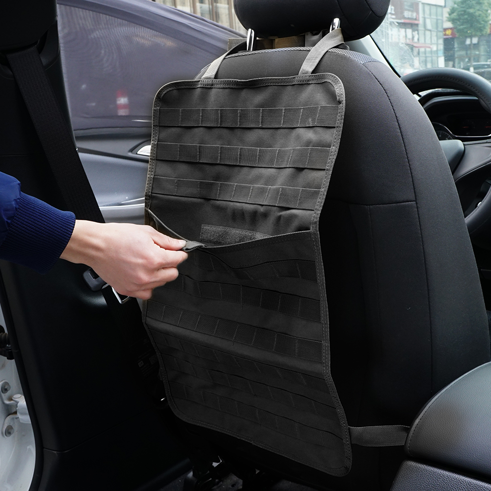 Tactical Molle Car Seat Cover Protector Pouch  1000D Nylon Outdoor Car Seat Organizer Fit Every Back Seat Organizer vehicle car accessories auto car seat cover back protector for children kick mat mud clean bk