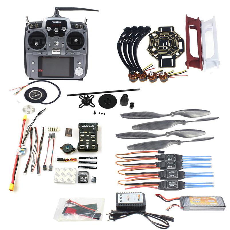DIY FPV Drone Quadcopter 4-axle Aircraft Kit 450 Frame PXI PX4 Flight Control 920KV Motor GPS AT10 Transmitter Props f02192 ac diy fpv drone quadcopter 4 axle aircraft kit 450 frame pxi px4 flight control 920kv motor gps fs i6 transmitter