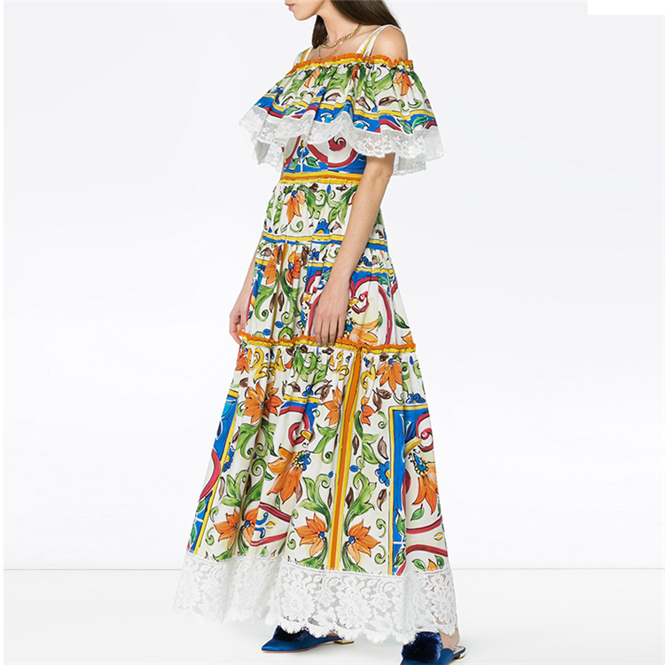New 2018 Europe and the word get ruffled printed accept waist straps knee-length sleeveless dress girl