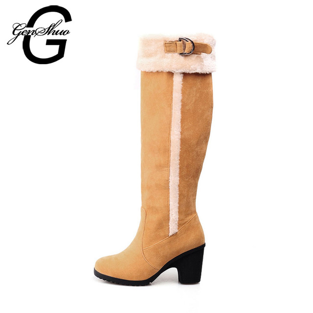 GENSHUO New Knee High Boots For Women Warm Snow Boots Women High Heels Shoes Faux Fur Opening Women's Winter Shoes Big size 10