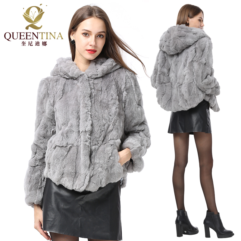 Women New Real Rabbit Fur Coat Hooded Natural Rex Rabbit Fur Coat Fashion Slim Thin Rabbit Fur Coat With Hood Genuine Fur Jacket