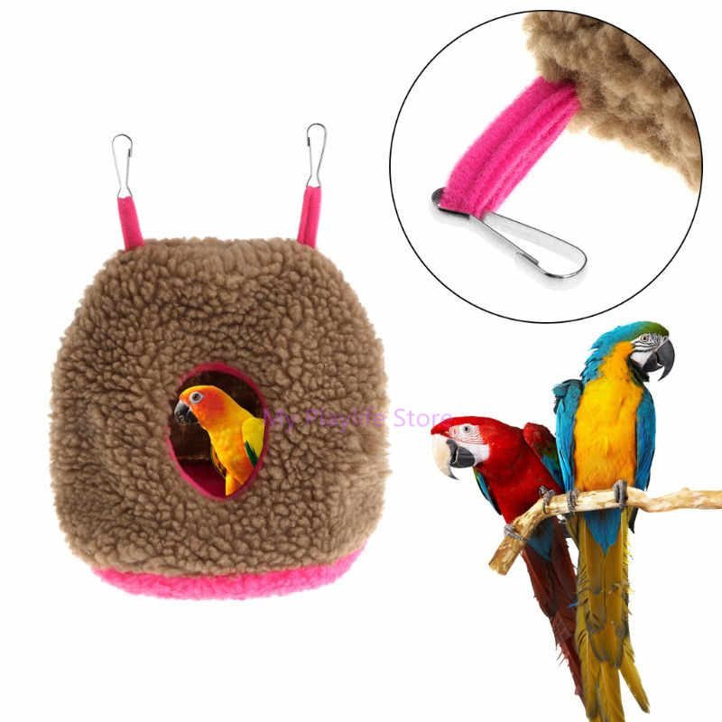 Soft Fleece Bird Parrots Nest Hammock Warm Winter Hanging Cage House Toys Pets Parakeet Bed Round Cave Sleep Hut Tent Toy C42