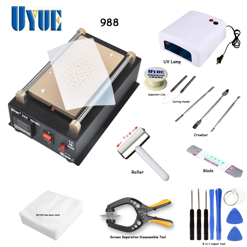 UYUE 988 LCD Separator Machine Screen Repair Machine Build-in Pump Vacuum Kit For IPhone For Samsung built in air vacuum pump ko semi automatic lcd separator machine for separating assembly split lcd ts ouch screen glas