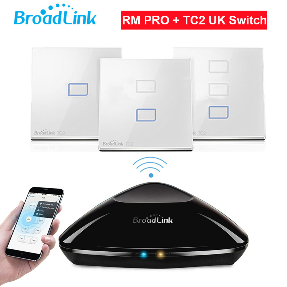Broadlink RM2 RM PRO+TC2 Touch Light Wall Switch 1/2/3Gang UK STD Smart Home Automation Universal Remote Controller WIFI+IR+RF broadlink tc2 us au uk eu 3gang switch smart home automation phone remote wireless wall light touch switch crystal glass panel