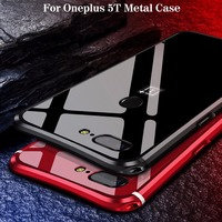 For Oneplus 5T Case Luxury Glitter Hard Aluminum Metal Frame Armor Protective Back Phone Case Cover