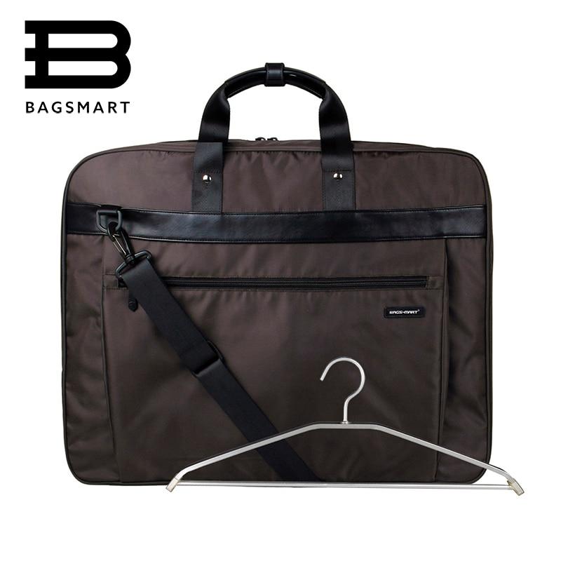BAGSMART Lightweight Black Nylon Business Dress Garment Bag With Handle Clamp Waterproof Suit Bag Men'S Suit Travel Bag