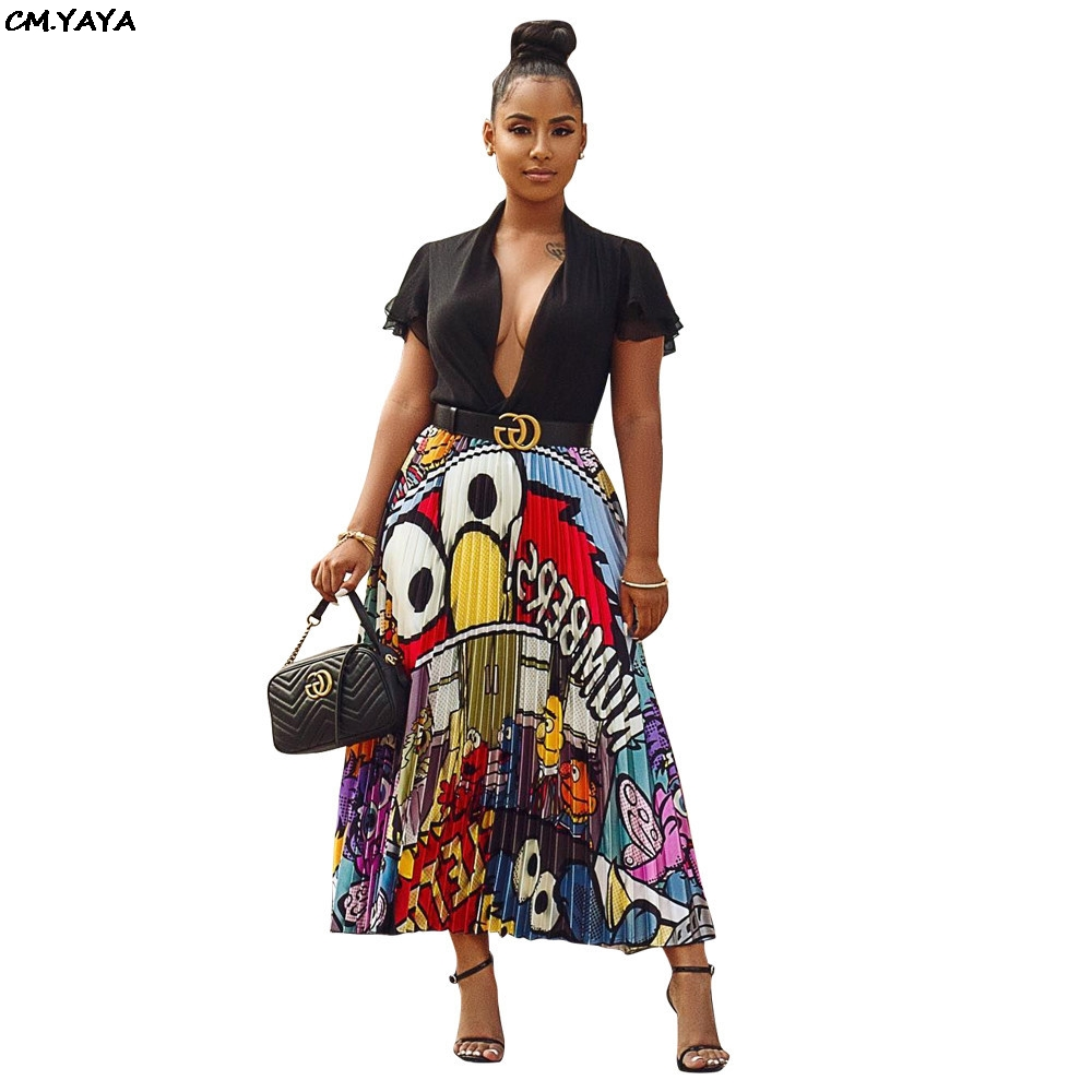 2019 new women vintage character letter print high waist mid-calf length pleated skirts vintage big swing skirt 4 color LD8277-1(China)