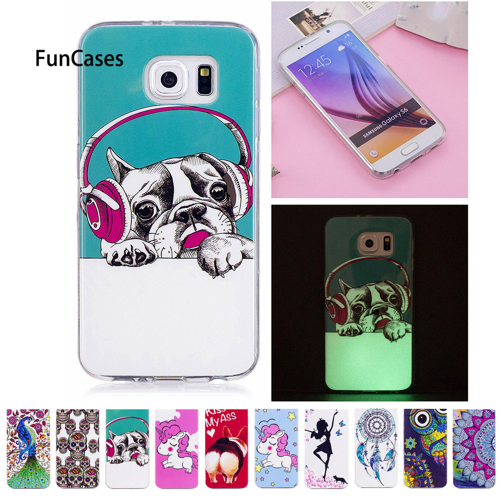 Soft Case For <font><b>Samsung</b></font> Galaxy <font><b>S6</b></font> S 6 G920 G920W8 <font><b>G920F</b></font> G920FD Unicorn dog Luminous Silicon TPU phone case <font><b>SM</b></font>-<font><b>G920F</b></font> <font><b>SM</b></font>-G920FD Capa image