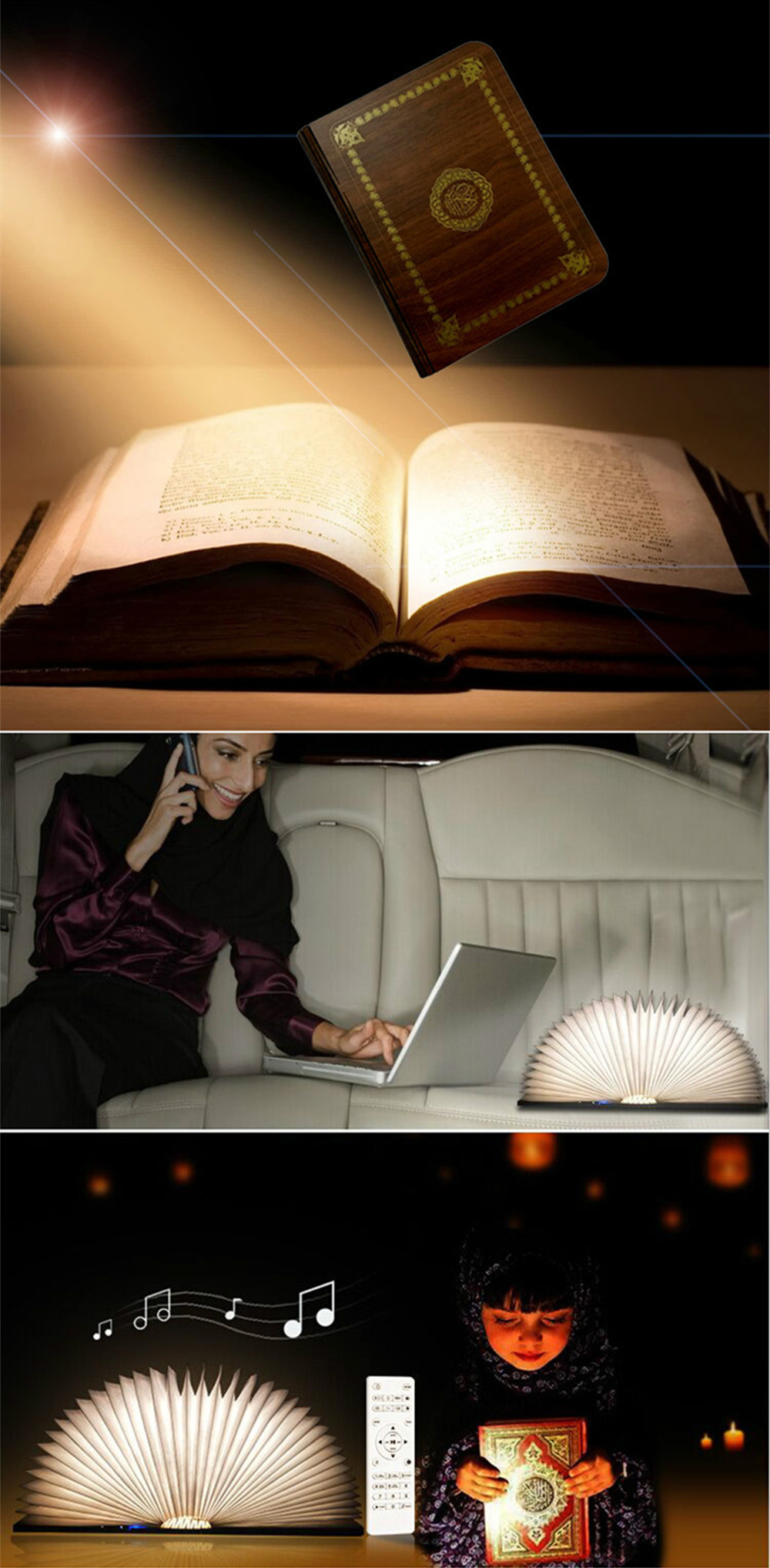 Colorful LED Book Lamp Quran Speaker Wireless Remote Control Night Light USB Rechargeable Lighting Learning Speaker for Muslim (12)