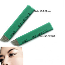 50pcs Permanent Makeup Eyebrow Tattoo Needle Bevel Blade16 Needles Manual Eyebrow Needles