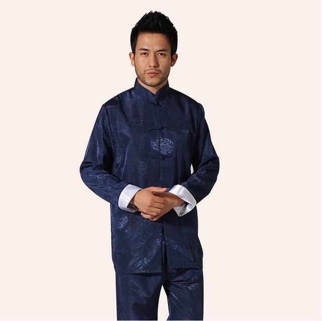 High Quality Satin Chinese Men's Kung Fu Suit Vintage Jacket&Pant Wu Shu Sets Tai Chi Clothing M L XL XXL XXXL MS010