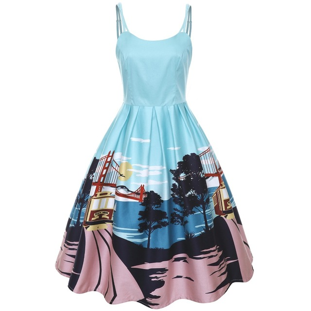 US $56.99 |30 summer women vintage 50s Marilu San Francisco dress in  Turquoise plus size rockabilly dresses spaghetti strap sundress-in Dresses  from ...