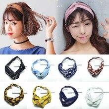 19 Colors Bohemian Style Elastic Headbands Boho Cross Floral Printed Turban Girls Chiffon Hairbands Striped Headwrap Headwear