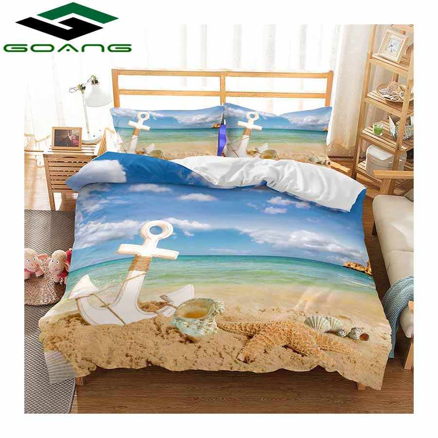 GOANG 3d bedding Sets bed sheet duvet cover pillow 100% polyester king size bedding set sea Shell starfish scenery best gift