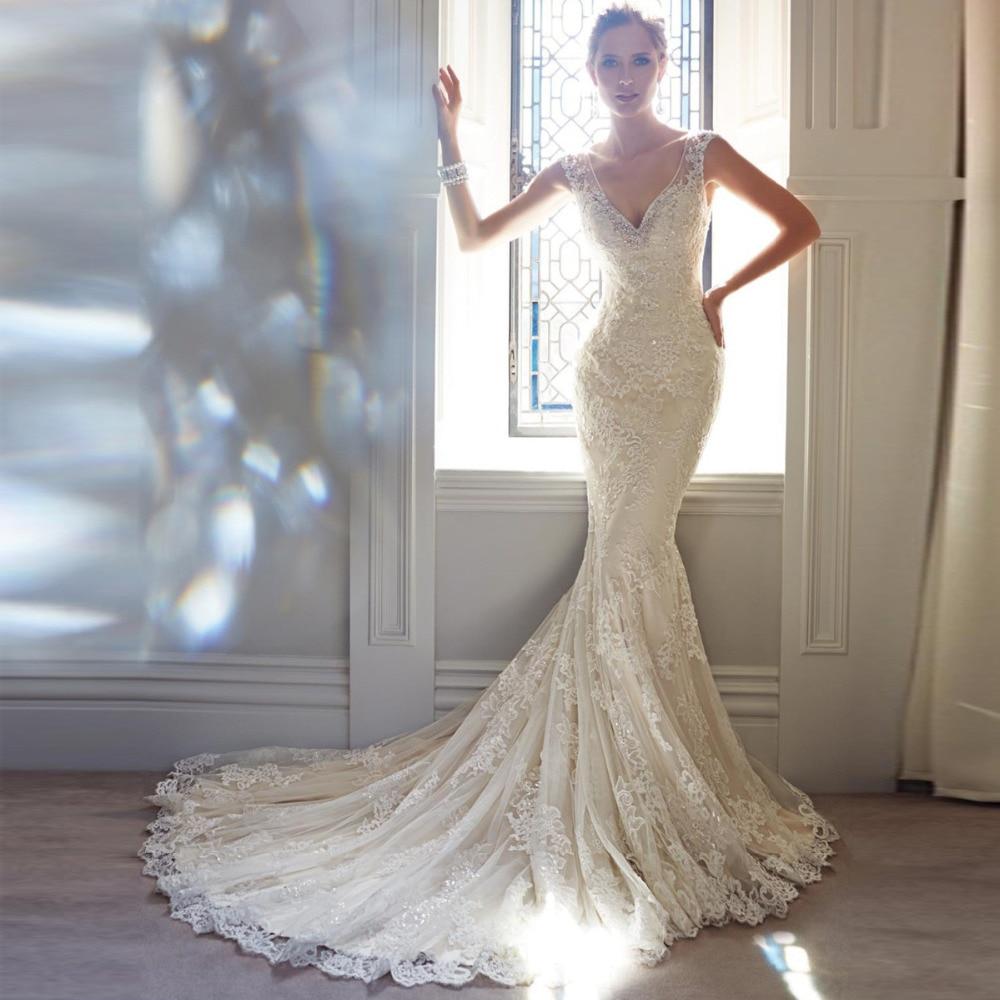Dress Wedding Mermaid Backless Appliques Crystal Sexy